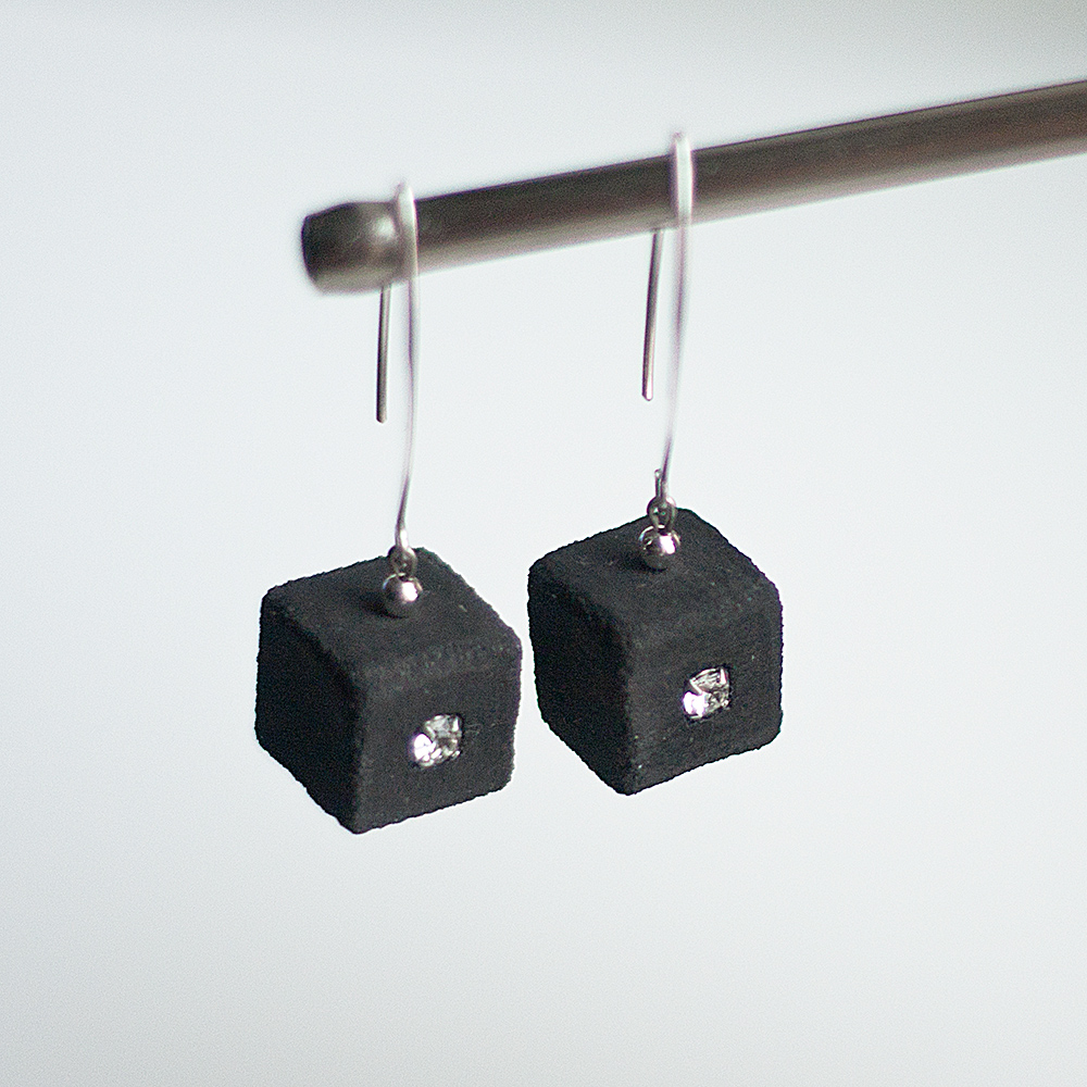 Earrings with concrete and Swarovski crystal