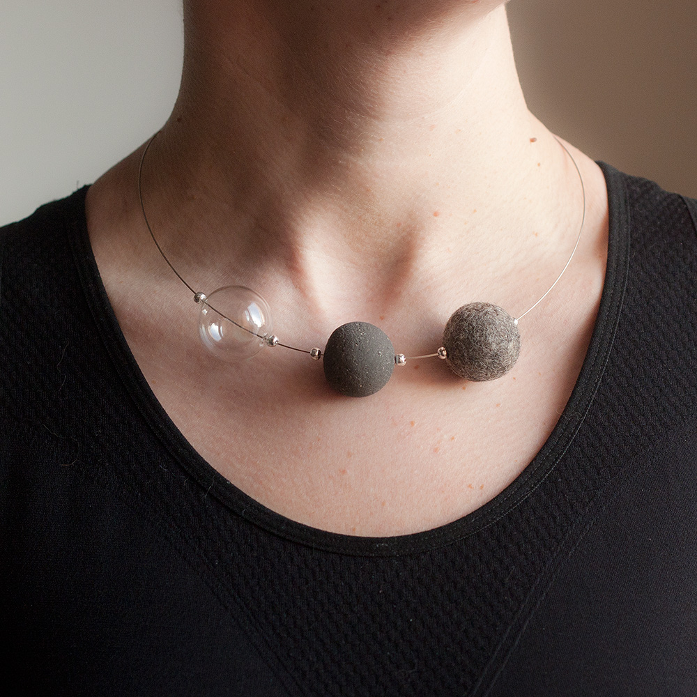Necklace with wool, concrete and lampwork glass